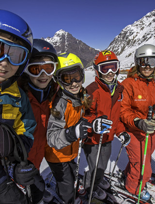 Amber and her ski school class at Portillo, Chile on September 12, 2012.